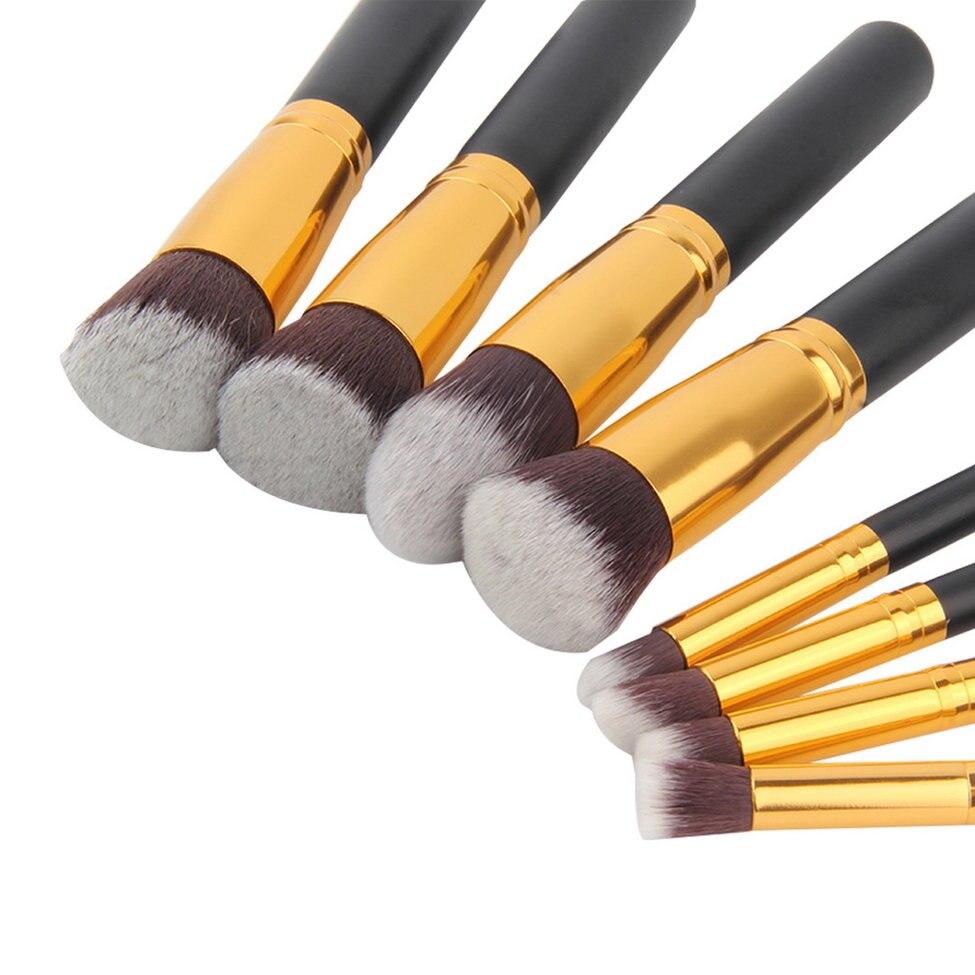Kit de pinceaux de maquillage tête synthétique souple manche en bois brosses ensemble de brosses plates pour les femmes fard à paupières maquillage du visage