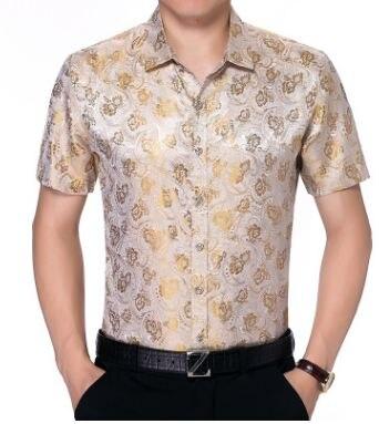 Mens casual Floral Print Kurzarm seide Hemd  2018 Marke Neue Sommer Männlichen Einreiher Mode Hemd Club Hemd-in Legere Hemden aus Herrenbekleidung bei  Gruppe 1