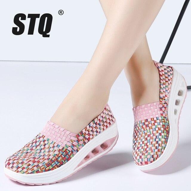 STQ 2020 Autumn Women Casual Shoes Women Wove Platform Shoes Ladies Fashion Slip On Sneakers Shoes Breathable Walking Shoes 1668
