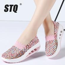 STQ 2020 jesień kobiety obuwie damskie Wove platformowe buty damskie moda wsuwane trampki buty oddychające buty do chodzenia 1668