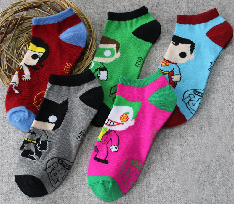 Hot sale! men   socks   cotton superman spiderman captain america avenge men's and male black short   sock   colorful funny cartoon   sock