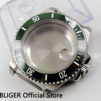 40mm verde moldura cerâmica caso relógio de cristal safira apto para eta 2836 movimento automático c99