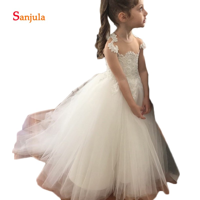 Appliques Ivory   Flower     Girls     Dresses   Illusion O-Neck Long   Girls   First Communion   Dresses   Stunning Beaded Cap Sleeve D127