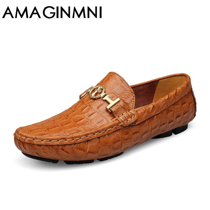 AMAGINMNI/брендовая роскошная мужская обувь для вождения, дышащая обувь из натуральной кожи, лоферы на плоской подошве, мужская обувь, повседнев...