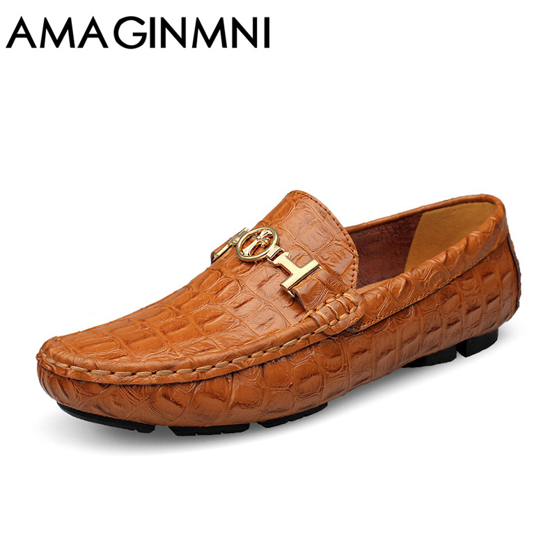 AMAGINMNI 2017 Summer Luxury Driving Breathable Genuine Leather Flats Loafers Men Shoes Casual Fashion Slip Large size 36-49 farvarwo genuine leather alligator crocodile shoes luxury men brand new fashion driving shoes men s casual flats slip on loafers