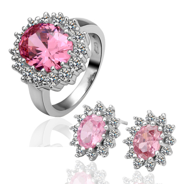 EVTZ18K (16) 18K Gold Plated Wedding Sets Health Jewelry Nickel Free Plating Platinum Rhinestone Austrian Crystal SWA Element