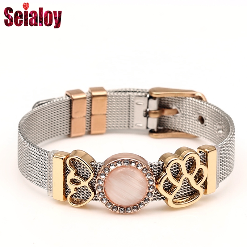 SEIALOY Tricolor Stainless Steel Mesh Bracelets For Women Men Golden Rose Gold Bear Paw Charm Brands Bracelet Jewelry