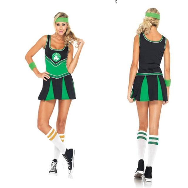 2018 New European Womens Green Football baby Cheerleading Dress Sports  Meeting cheerleader Uniforms 75b0766bd2