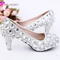 2014 Sexy Crystal Wedding Dress Shoes 5cm Middle Heel Comfortable Bridal Shoes Silver Woman Party Prom