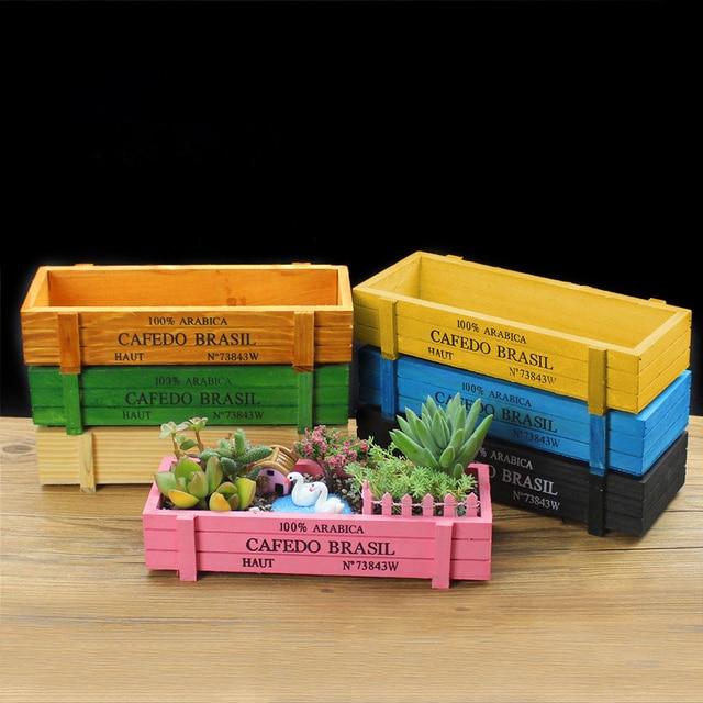 7pcs/set Vintage Natural Wooden Garden Planter Flower Pots Succulent Plants Flowerpot Desktop Storage Box 7 Colors Free Shipping