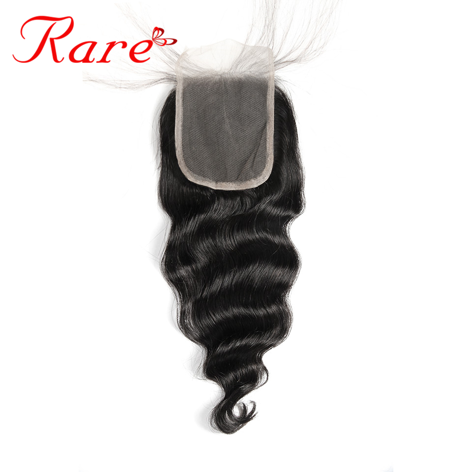 Rare Hair Pre-Colored Brazilian Loose Wave 4*4 Lace Closure Free/Midlle/Three Part With Baby Hair 100% Human Hair Free Shipping