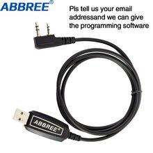 Cabo usb de programação abbree, cabo win xp/win7/win8/win10 para abbree AR-F1 AR-F2 AR-F6 AR-F8 walkie talkie rádio portátil