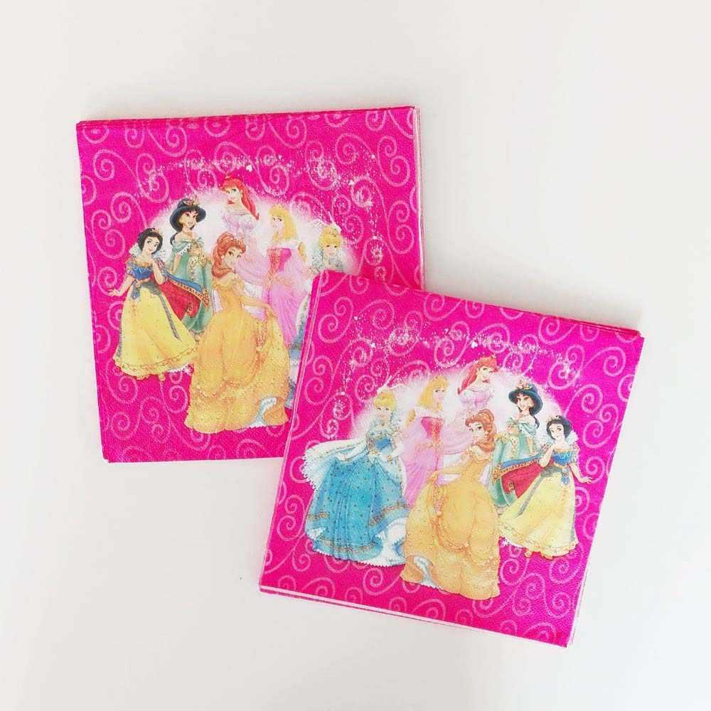 Disney เจ้าหญิงหกอุปกรณ์ PARTY PARTY แผ่นถ้วยหลอดธง Tablecloths Candy กล่องมีดช้อนผ้ากันเปื้อนวันเกิดตกแต่ง