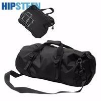 HIPSTEEN Foldable Casual Lightweight Gear Waterproof Travel Duffel Bag Oxford Cloth Men Travel Bags Set Black