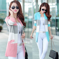 2014 New Winter Sweater Knit Cardigan Women Floral Fabric Buttons Stitching O Neck Long Sleeve Female