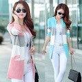 Nova Moda Patchwork Cardigan 2017 Primavera Bolsos de Manga Longa O-pescoço Camisola De Malha Fina Casaco Coreano Mulheres Camisolas Outwear