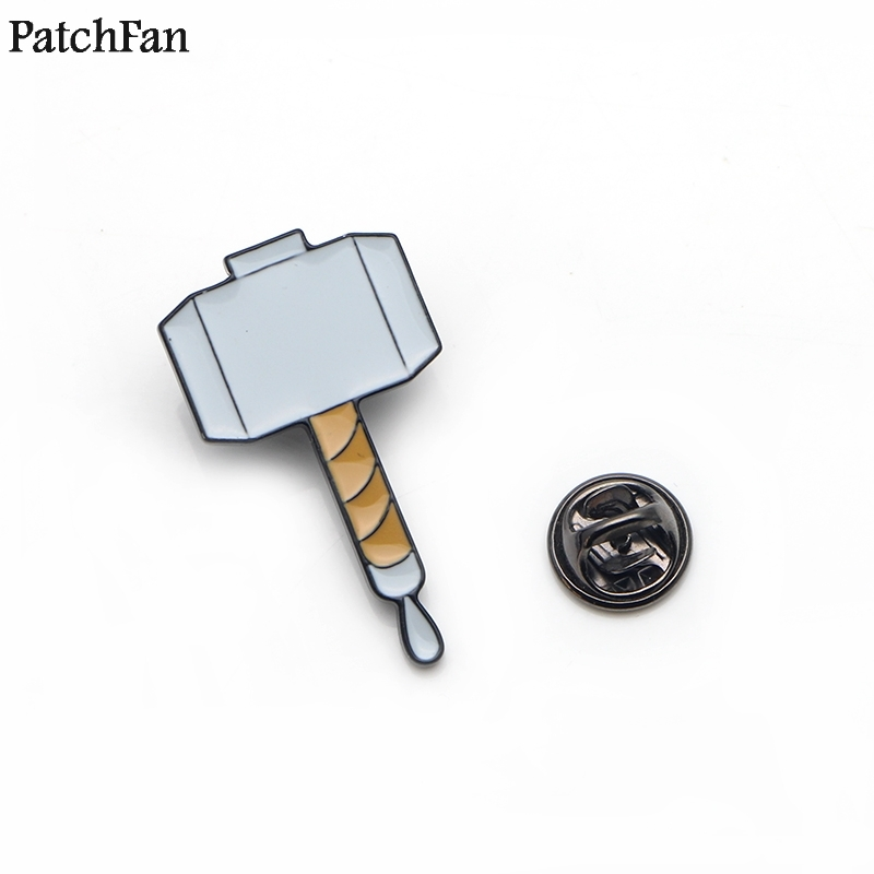 20pcs/lot Patchfan Thor Hammer Tie Cartoon Funny Pins Backpack Clothes Brooches For Men Women Hat Decoration Badges Medals A1824 Apparel Sewing & Fabric