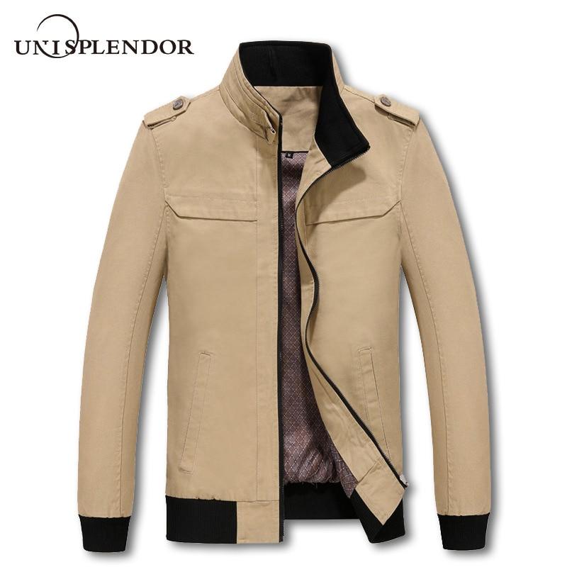 unisplendor 남자 자 켓 단색 지퍼 코 튼 남자의 의류 고품질 2019 가을 새로운 남자 재킷 및 코트 YN638