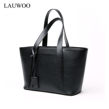 LAUWOO Latest Women Genuine Leather tote bag high quality ladies casual Leisure shopping bag Female fashion Shoulder Bag