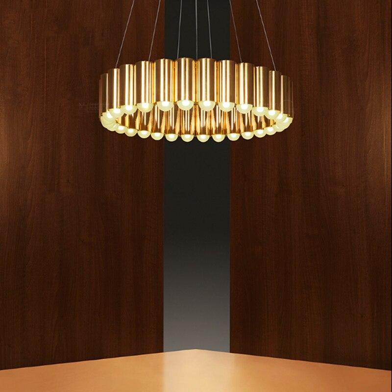Luz criativa de luxo bronze dourado pintura restaurante lustre de ferro decoração LED G9 pendurado iluminação fio