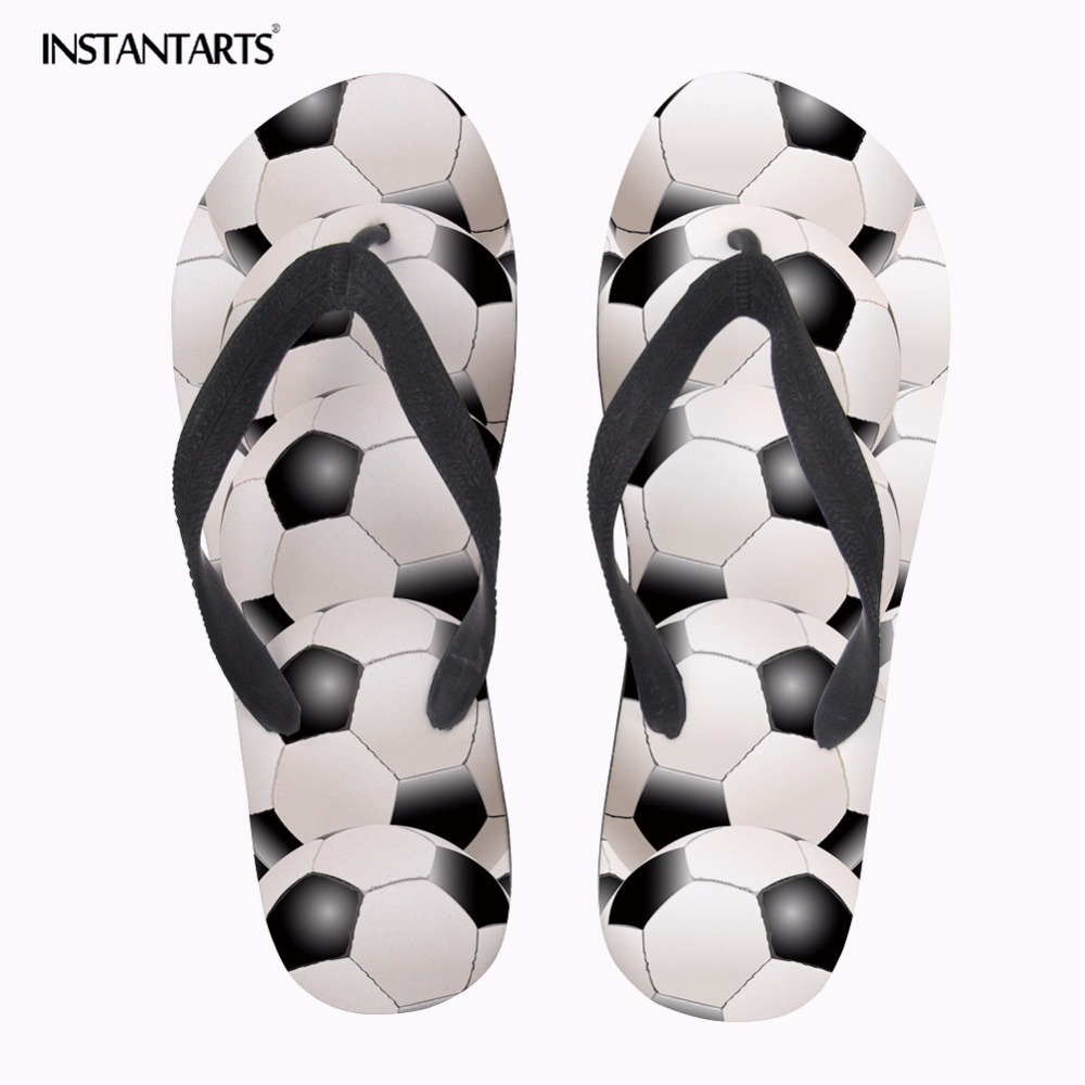 4908f646f255 INSTANTARTS Youth Girl Casual Beach Flats Shoes Women Ball Non-slip Flip  Flops 3D Soccerly Pattern Women Home Rubber Slippers