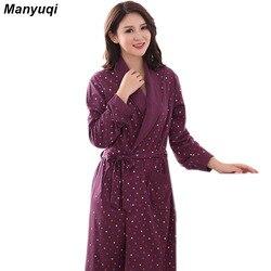 المرأة القطن الطابع البشكير أسلوب بسيط ثوب النوم للنساء المنزل ملابس النوم المرأة متوسطة طويلة رداء 6 ألوان