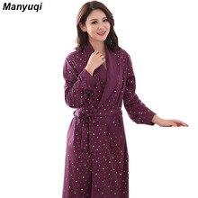 Женская хлопок характер халат простой стиль ночной рубашке для женщин главная ночные одежда женщин среднего длинный халат 6 цвета