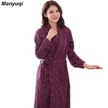 Womens algodón carácter estilo Simple vestidos para las mujeres homeWear largo albornoces albornoces 5 color