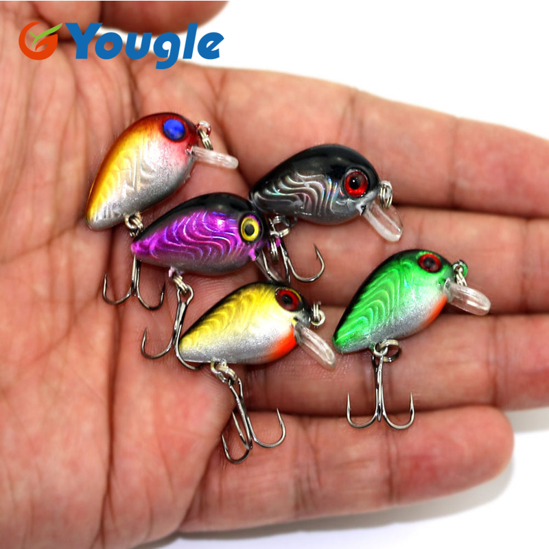 YOUGLE 5 Pcs/lot Lifelike Topwater Fishing Lure Crankbait Hooks Bass Bait Tackle 3cm CB023 new bass floating frog topwater fish fishing lure bait hooks tackle 60mm 9g