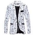 2016 Otoño Nueva Primavera Plus Size M ~ 2XL Blanco Verde Off-Blanco de Impresión Caliente Ocasional Delgado Hombres Guapos Blazers