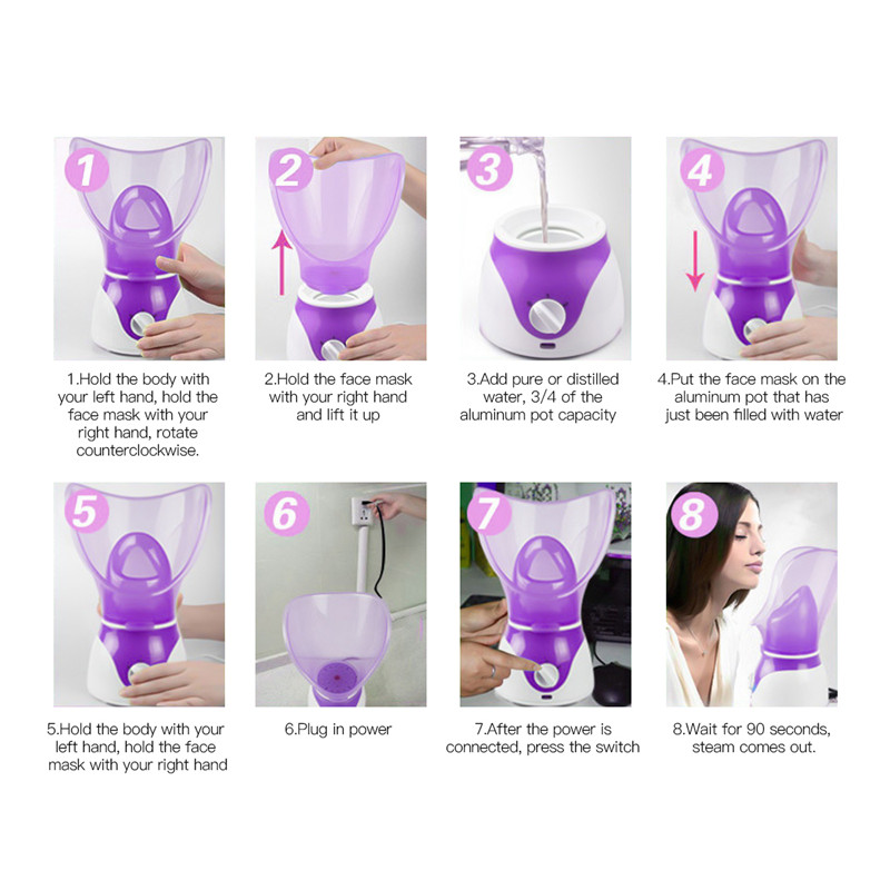 Deep Cleaning Facial Steamer Skin Spa Face Sauna Steaming Device Essential Oil Aromatherapy Mist Sprayer Home Beauty Salon Tools Uncategorized Power Source: electric