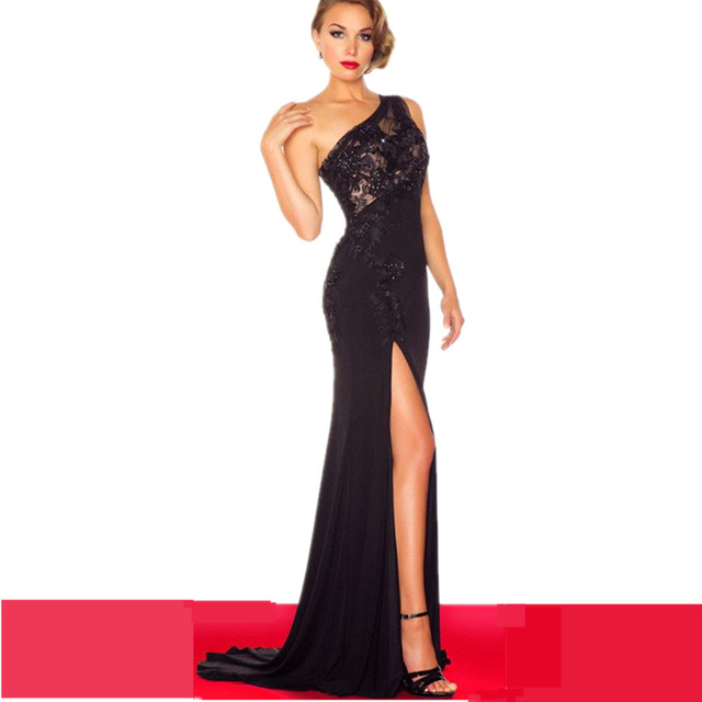 Side Slit Black Prom Dress One Shoulder Long Tight Stretch Women