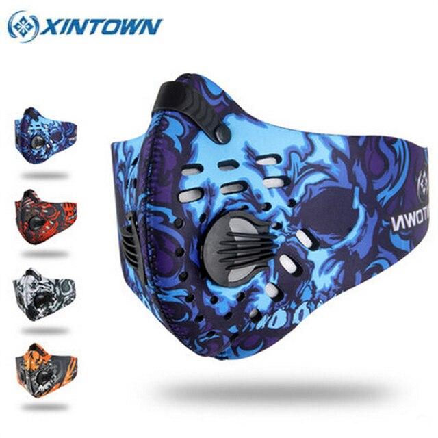 2017 XINTOWN Bisiklet Maskesi Filtre Ile 4 Renk Yarım Yüz Karbon Bisiklet Bisiklet Eğitim Maskesi Mascarilla Polvo Maskaralar Ciclismo