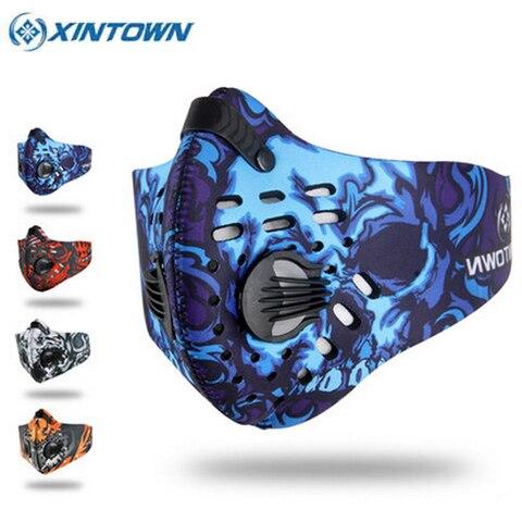 Máscara com Filtro Metade do Rosto de Bicicleta de Carbono Xintown Ciclismo Cores Bicicleta Máscara Formação Mascarilla Polvo Mascaras 2020 4