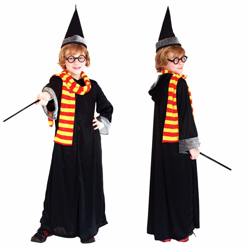 Harri Potter Costumes Cosplay Boys Kids Hogwarts Witch 5pcs 1set Costume Kids Cosplay Black Magician Wizard For Children