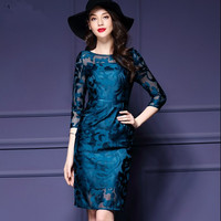 Womens Elegant Embroidered Floral Sexy See Through Mesh Lace Party Evening Mother of Bride Bodycon Dress plus size M 3XL