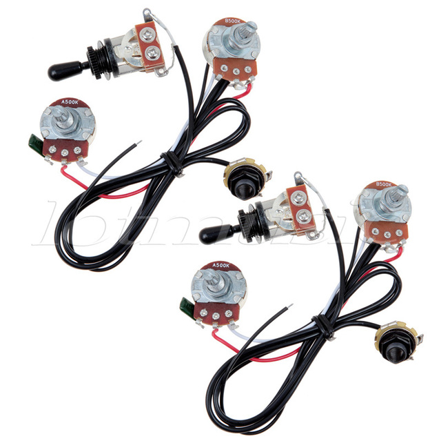Kmise Two Pickup Guitar Wiring Harness 500K 3 Way Toggle Swtich