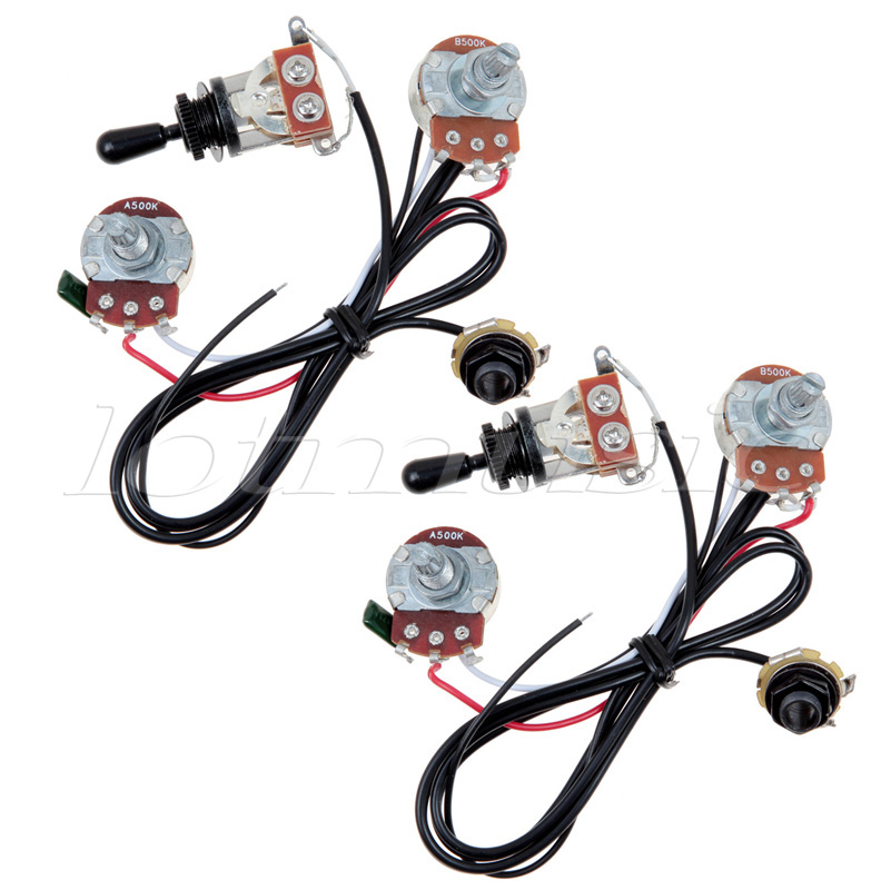 Kmise Two Pickup Guitar Wiring Harness 500K 3 Way Toggle Swtich Black-Great with Humbuckers Pack of 2