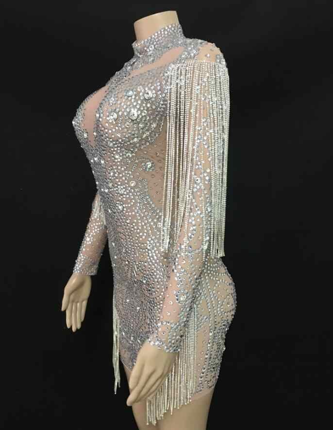 2019 Sparkly คริสตัลโซ่ตาข่ายมุมมองชุด Evening Party Dresses ชุดราตรีฉลองชุดนักร้องประสิทธิภาพ YOUDU