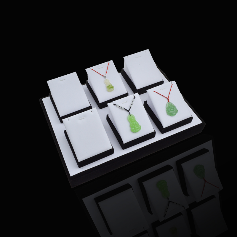 Kit White PU Wood Jewelry Display Table Tray Exhibitor Pendant Necklaces Show Case For Checkout Counter