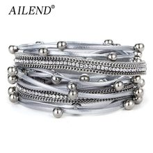AILEND Fashion Design Bead Multilayer Charm Bracelet For Women Men Leather Bracelets & Bangle New Femme Party Jewelry Gift(China)