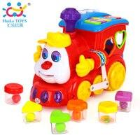 HUILE BRINQUEDOS 556 Brinquedos Do Bebê IQ Trem Sobre Rodas de Carro Elétrico brinquedo com Luz & Música Crianças Centro de Aprendizagem Brinquedos Educativos para meninos