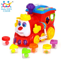 HUILE TOYS 556 Baby Toys IQ Train On Wheels Electric Car Toy with Lights & Music Kids Learning Center Educational Toys for Boys