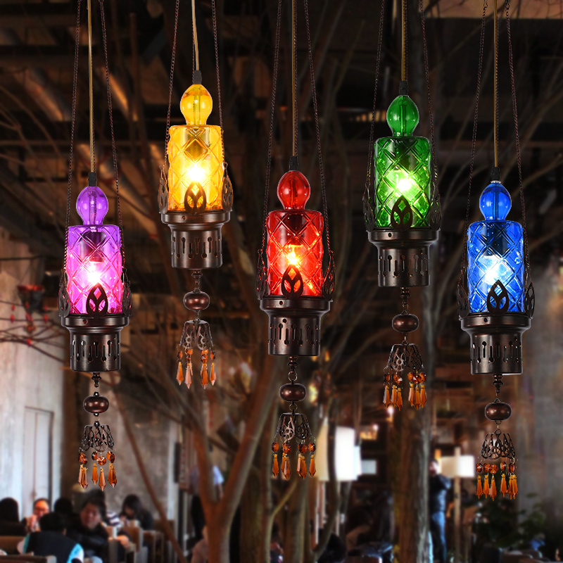 Bar restaurant pendant lighting glass shades handmade cord pendant lamp Mysterious Southeast Asia Indian Retro Bohemia droplight