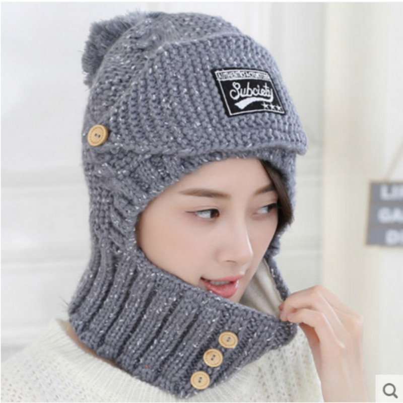 0bd2ed48ea2 Autumn And Winter Korean Man Knitting Hat Increase Down Thickening Wool Hat  Pullover Hats Scarf Suit Tide