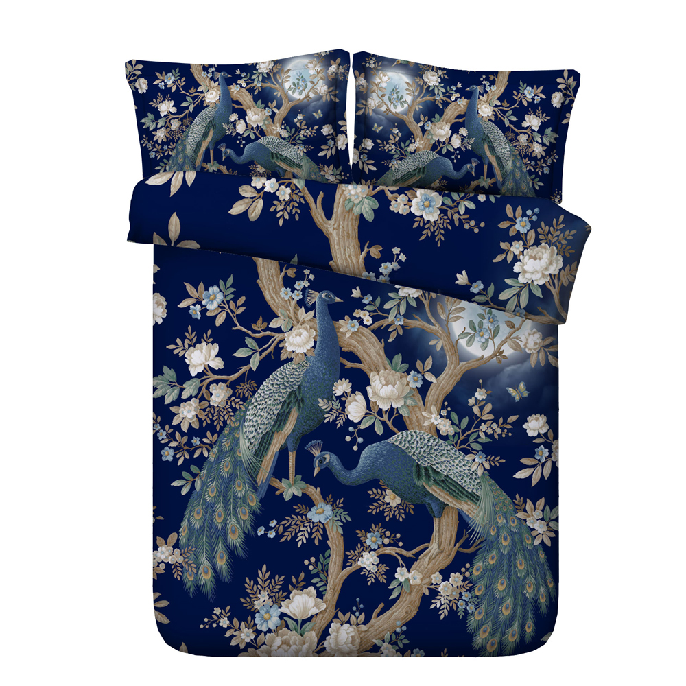 Super Soft Luxury Peacock Feathers Cotton Bedding Sets 3/4 Piece, Teal Grey/Sapphire, Twin Size,Anti-wrinkle, hypoallergenicSuper Soft Luxury Peacock Feathers Cotton Bedding Sets 3/4 Piece, Teal Grey/Sapphire, Twin Size,Anti-wrinkle, hypoallergenic