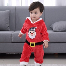 Children Christmas party dressed up rompers Santa cosplay costume for kids winter thicken flannel hooded sets reima rompers 7796984 for children polyester winter