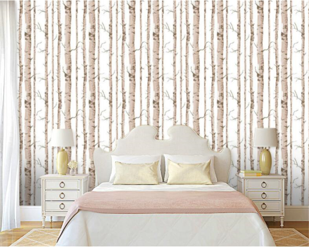 Beibehang modern White Birch Black and White Trees Embossed  Wallpaper Bedroom Living Room Backdrop Restaurant 3D Wallpaper custom baby wallpaper snow white and the seven dwarfs bedroom for the children s room mural backdrop stereoscopic 3d