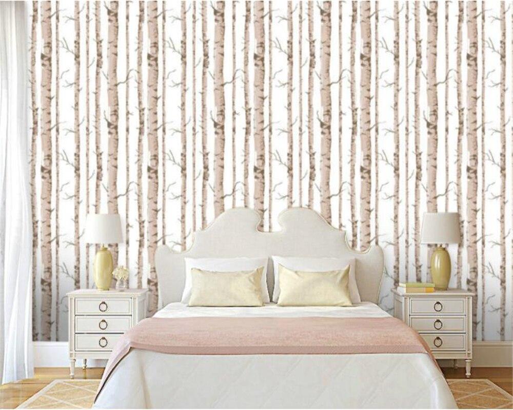 Beibehang moderne bouleau blanc noir et blanc arbres en relief papier peint chambre salon toile ...