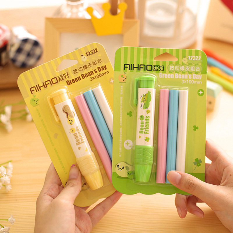 1 Pics Cute Kawaii Push In Pencil Erasers Set With Refill ...